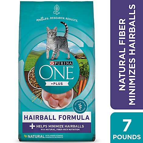 Purina ONE Cat Food Adult Advanced Nutrition Hairball Formula with Real Chicken - 7 Lb