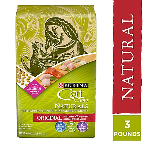 Cat Chow Cat Food Dry Naturals Chicken & Salmon - 3.15 Lb