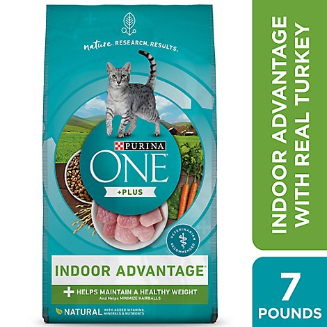 Purina ONE Smartblend Cat Food Premium Adult Indoor Advantage Real Turkey - 7 Lb