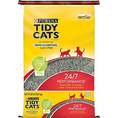 Purina Tidy Cats 24/7 Performance Cat Litter Non-Clumping for Multiple Cats - 20 Lb