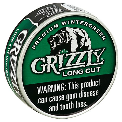 Grizzly Long Cut Wintergreen Smokeless Tobacco - 1.2 Oz