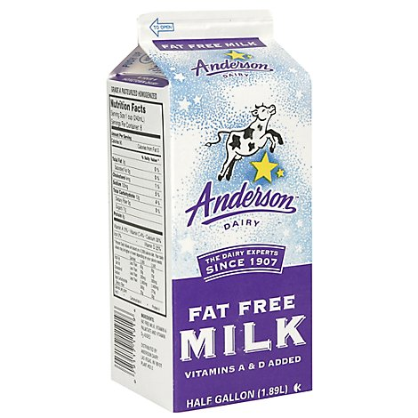 Anderson Dairy Fat Free Milk - Half Gallon
