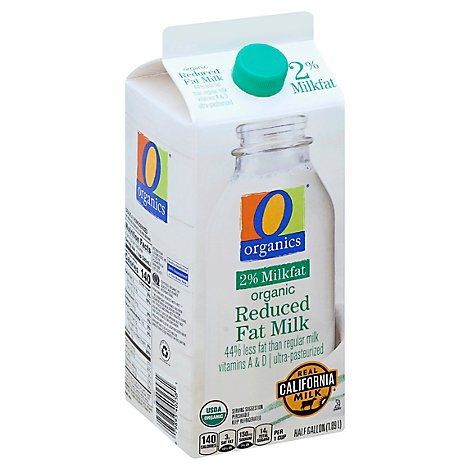 O Organics Organic Milk Reduced Fat 2% - Half Gallon
