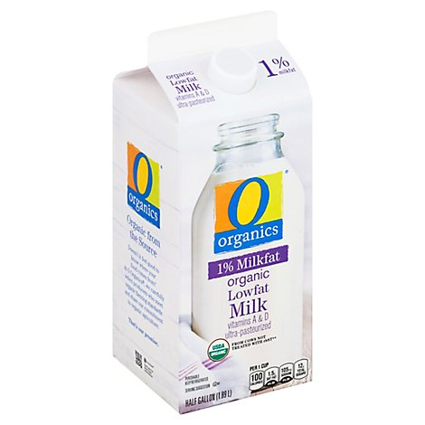 O Organics Organic Milk Low Fat 1% Milkfat - Half Gallon