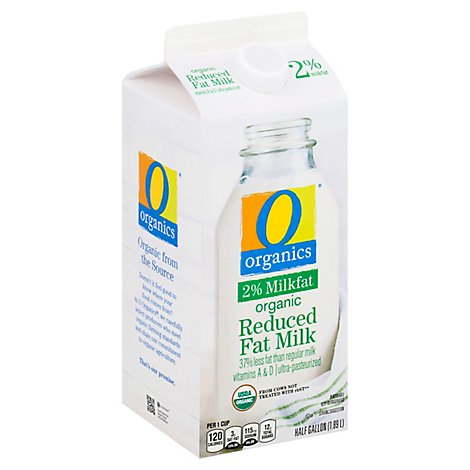 O Organics Organic Milk Reduced Fat 2% Milkfat - Half Gallon