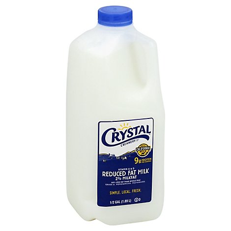 Crystal Milk Reduced Fat 2% - Half Gallon