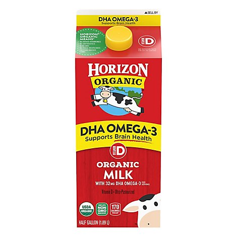 Horizon Organic Milk DHA Omega 3 Vitamin D Half Gallon - 64 Fl. Oz.