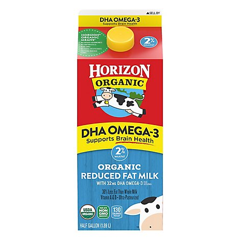 Horizon Organic Milk Reduced Fat With DHA Omega-3 Vitamins A & D - Half Gallon