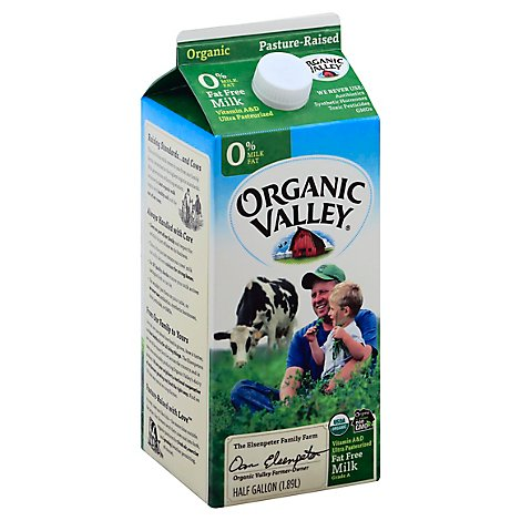 Organic Valley Milk Organic Fat Free - Half Gallon