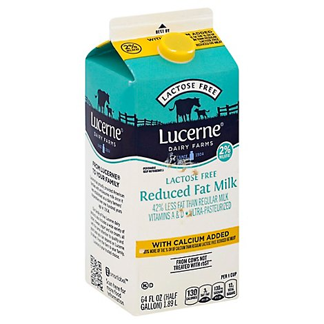 Lucerne Milk Lactose Free Reduced Fat 2% Calcium Enriched - Half Gallon