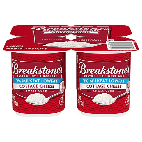 Breakstones Cottage Cheese Snack Size Small Curd Lowfat 2% - 4-4 Oz