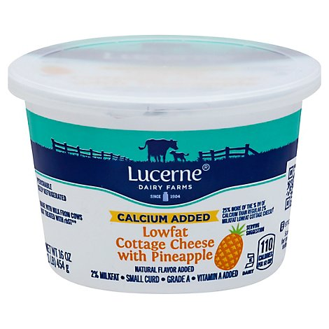 Lucerne Cottage Cheese Lowfat 2% Calcium Fortified Pineapple - 16 Oz