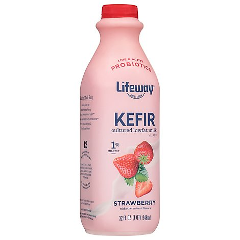 Lifeway Kefir Cultured Milk Smoothie Lowfat Strawberry Low Fat - 32 Fl. Oz.