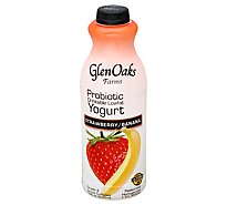 GlenOaks Yogurt Drinkable Low Fat With Probiotics Strawberry Banana - 32 Fl. Oz.