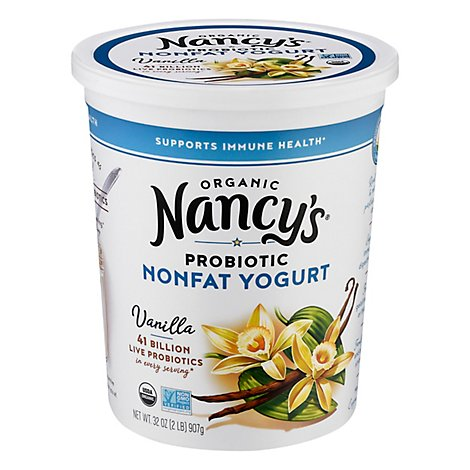Nancys Organic Yogurt Non Fat Vanilla - 32 Oz