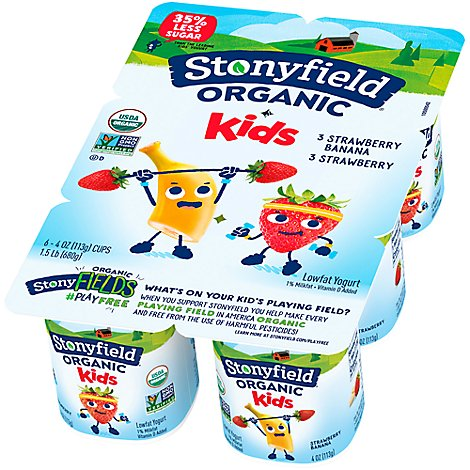 Stonyfield Farm Organic Yogurt Strawberry Strawberry Banana - 6-4 Oz