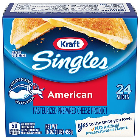 Kraft Singles Cheese Product Pasteurized Prepared American - 24 Count