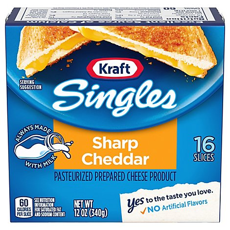 Kraft Cheese Product Pasteurized Prepared Singles Sharp Cheddar - 12 Oz