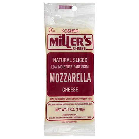 Millers Cheese Sliced Mozzarella Cheese - 6 Oz