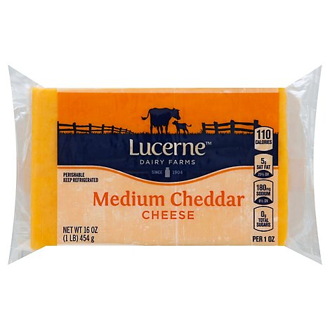 Lucerne Cheese Natural Medium Cheddar - 16 Oz