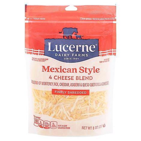 Lucerne Cheese Finely Shredded Mexican Style 4 Cheese Blend - 8 Oz