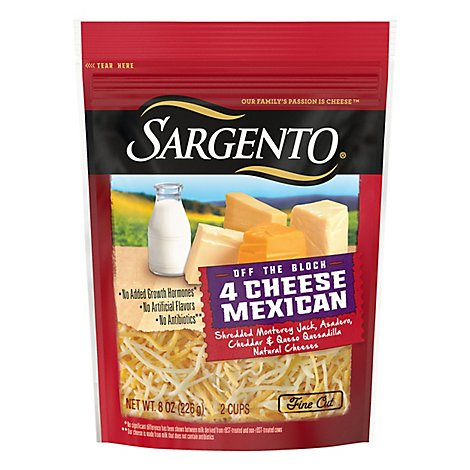 Sargento Off the Block Cheese Shredded Fine Cut 4 Cheese Mexican. - 8 Oz