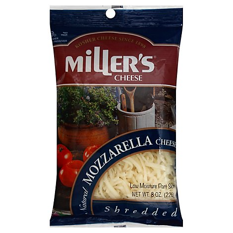 Millers Cheese Kosher Shredded Mozzarella Cheese - 8 Oz