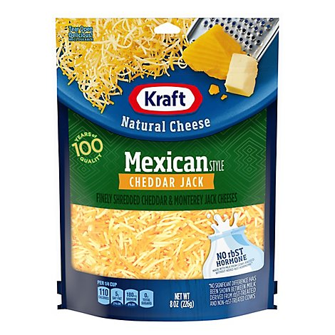 Kraft Natural Cheese Finely Shredded Cheddar Jack Mexican Style - 8 Oz