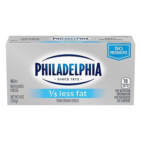 Philadelphia Cream Cheese Brick Neufchatel Cheese 1/3 Less Fat - 8 Oz