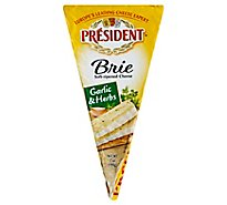 President Cheese Brie Herb Foil Wedge - 7 Oz