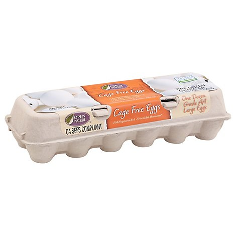 Open Nature Eggs Cage Free Large White - 12 Count