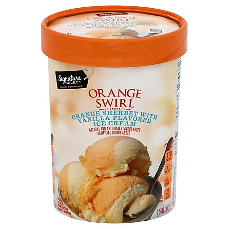 Signature SELECT Ice Cream Orange Sherbet & Vanilla - 1.75 Quart