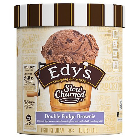 Dreyers Edys Ice Cream Slow Churned Light Double Fudge Brownie - 1.5 Quart
