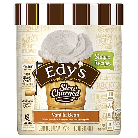 Dreyers Edys Ice Cream Slow Churned Light Vanilla Bean - 1.5 Quart