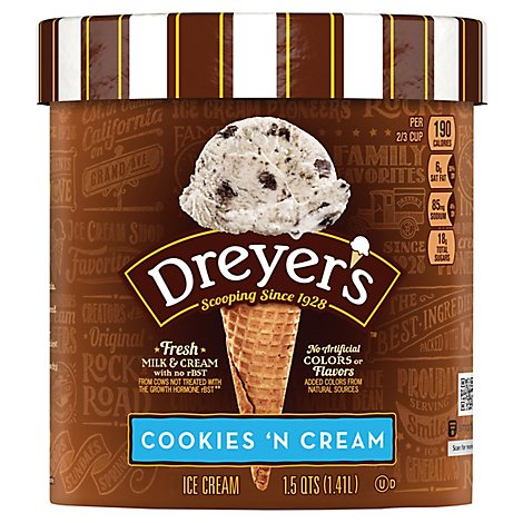 Dreyers Edys Ice Cream Grand Cookies & Cream - 1.5 Quart