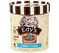 Dreyers Edys Ice Cream Slow Churned Light Cookies N Cream - 1.5 Quart