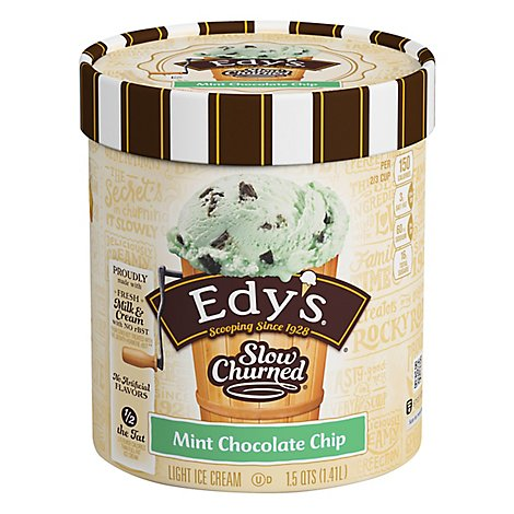 Dreyers Edys Ice Cream Slow Churned Light Mint Chocolate Chip - 1.5 Quart