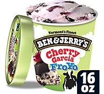 Ben & Jerrys Fro Yo Frozen Yogurt Low Fat Cherry Garcia 1 Pint - 16 Oz