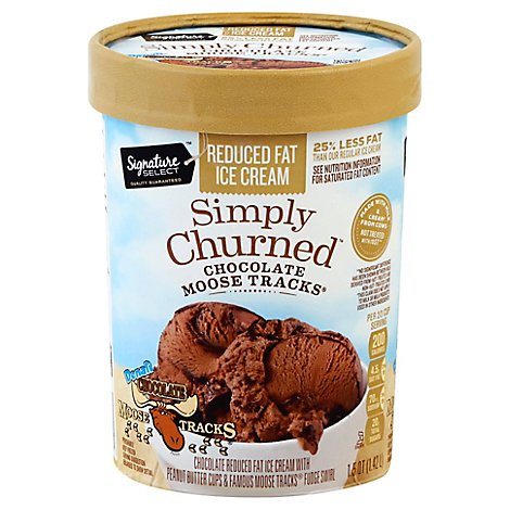 Signature SELECT Ice Cream Alaskan Classics Premium Chocolate Moose Tracks Light Creamy - 1.5 Quart