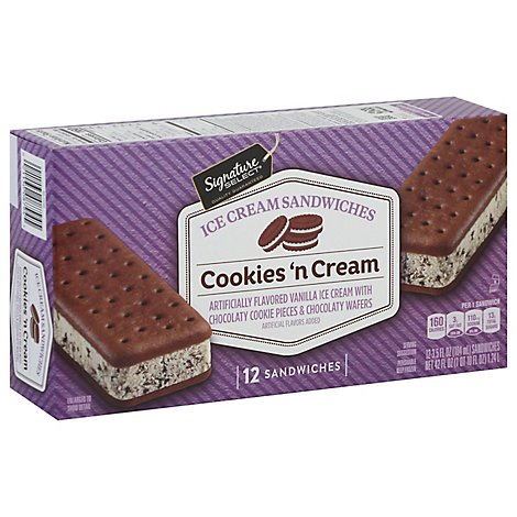Signature SELECT Ice Cream Sandwiches Cookies N Cream - 12-3.5 Fl. Oz.