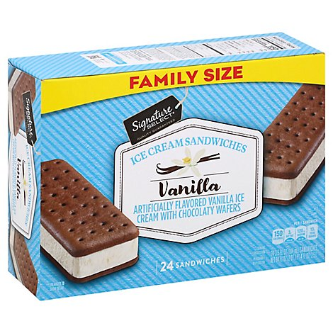 Signature SELECT/Lucerne Ice Cream Sandwiches Vanila Flavored - 24-3.5 Fl. Oz.