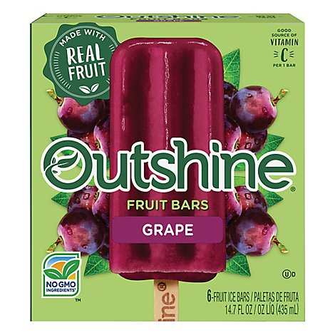 Outshine Fruit Ice Bars Grape 6 Counts - 14.7 Fl. Oz.