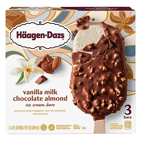 Haagen-Dazs Ice Cream Bars Vanilla Milk Chocolate Almond - 3-3 Fl. Oz.