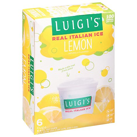 LUIGIS Real Italian Ice Fat Free Lemon - 6-6 Fl. Oz.
