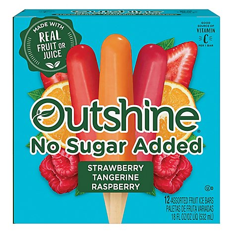 Outshine Fruit Ice Bars No Sugar Added Strawberry Raspberry Tangerine 12 Counts - 18 Fl. Oz.