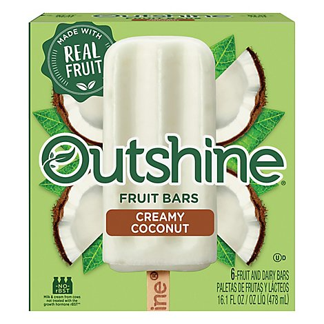 Outshine Fruit Ice Bars Creamy Coconut 6 Count - 16.1 Fl. Oz.