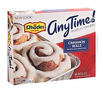 Rhodes Anytime! Cinnamon Rolls With Cream Cheese Frosting 6 Count - 19 Oz