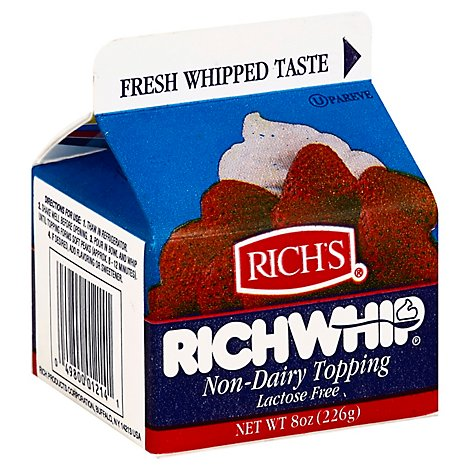 Richs Richwhip Topping Non Dairy Lactose Free - 8 Oz