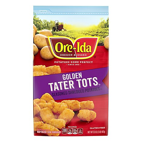 Ore-Ida Potatoes Shredded Tater Tots Seasoned Gluten Free - 32 Oz