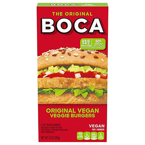 Boca Veggie Burgers Original Vegan 4 Count - 10 Oz